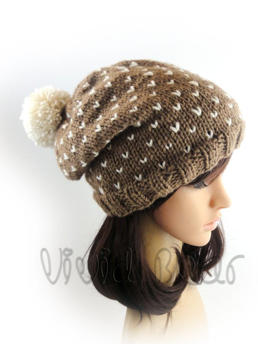 d45270d98ee Pom Pom Hat. Hand Knit Beanie. Brown Ivory or any of 44 colors. Big Fluffy  Pompom. Slouchy Beanie. Woman s Hat. Warm Winter Accessory.