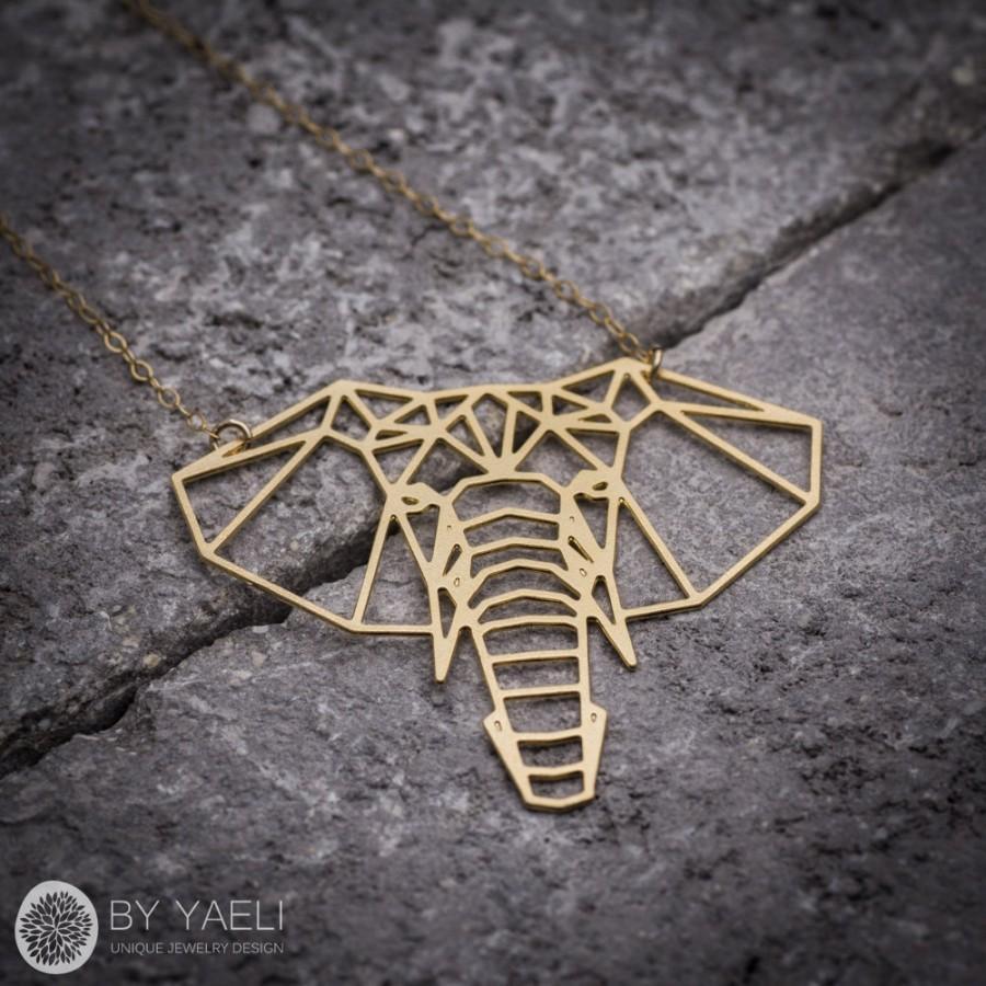 Hochzeit - Elephant necklace, animal necklace, geometric necklace, gold necklace, unique necklace, gift under 50, goldfilled necklace.