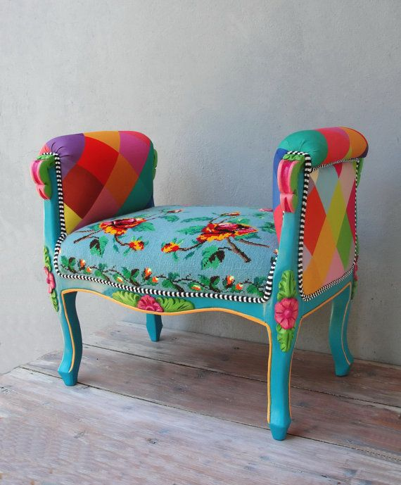 Rainbow Bench Bohemian Vanity Chair Embroidered Flower Power Vanity