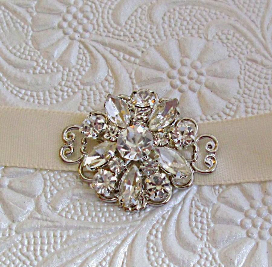 Hochzeit - Simple Wedding Headband, Small Crystal Ribbon headband, crystal rhinestone, Ribbon Headband, Bridal Hair Accessories, Wedding Accessory
