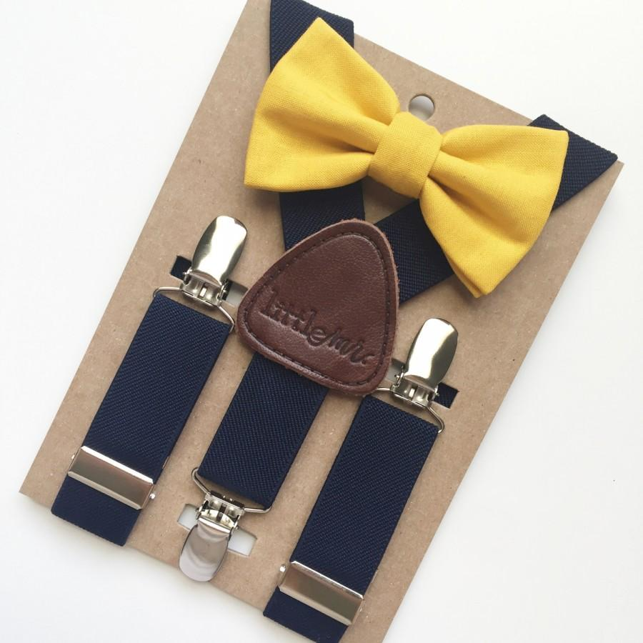 Mariage - Baby Bow Tie and Suspenders, Toddler Bow Tie and Suspenders, Solid Mustard Bow Tie Navy Suspenders