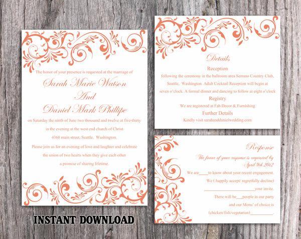 Wedding - DIY Wedding Invitation Template Set Editable Word File Instant Download Printable Orange Wedding Invitation Elegant Red Invitations