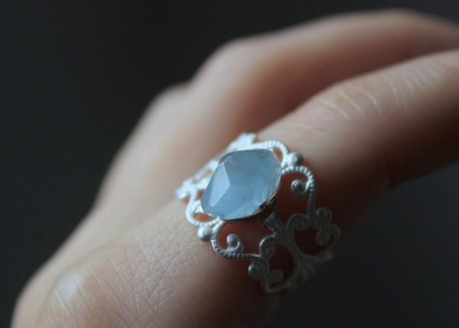 Mariage - Aquamarine ring silver Filigree Ring,art nouveau ring,Victorian ring,art deco ring,minimalist rings,auqa blue,stone ring,gypsy rings,healing