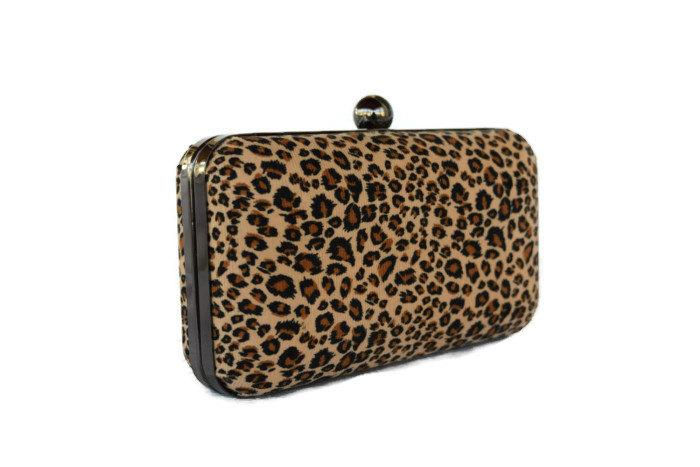 Mariage - Leopard box clutch / Bridal clutch box purse/ Minaudiere clutch bag /   Fall Wedding purse / evening clutch bag/ Custom made purse