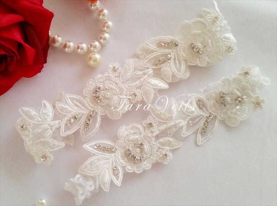 Свадьба - Wedding Garter Set,Bridal Garter Ivory,Bridal Garter Ivory Garter,Wedding Garter White,Lace Garter, Garter Set light Ivory, garter set white