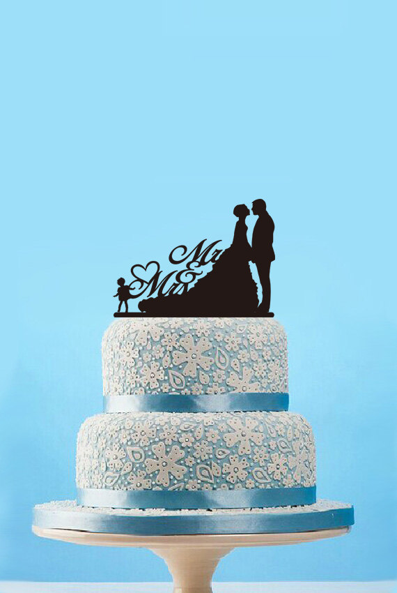 Mariage - Mr & mrs cake topper- custom silhouette cake topper with child-bride and groom wedding cake topper-rustic mr and mrs cake topper for wedding