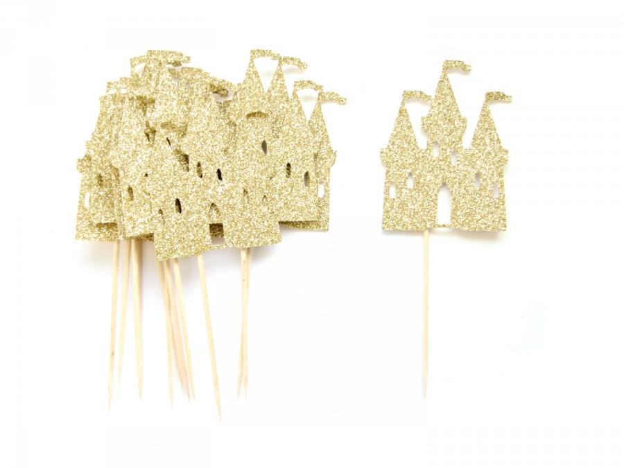 12 Gold Princess Castle Cupcake Toppers - Castle Cupcake Toppers ...