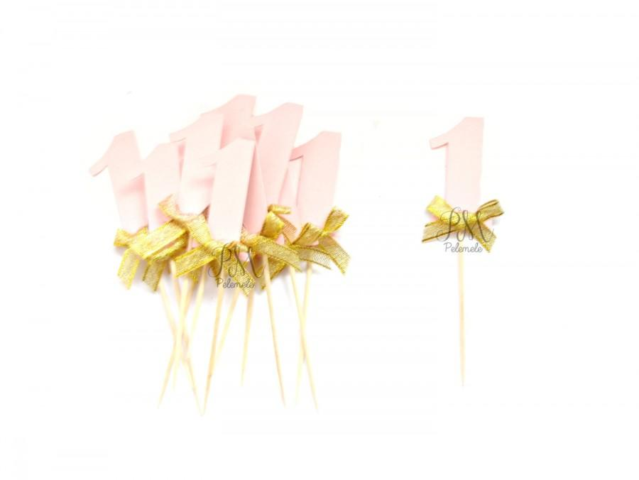 Mariage - Custom Pale Pink Shimmer Number & Gold Bow Cupcake Toppers  - 1st Birthday, Birthday Cupcake Topper, gold birthday cake topper