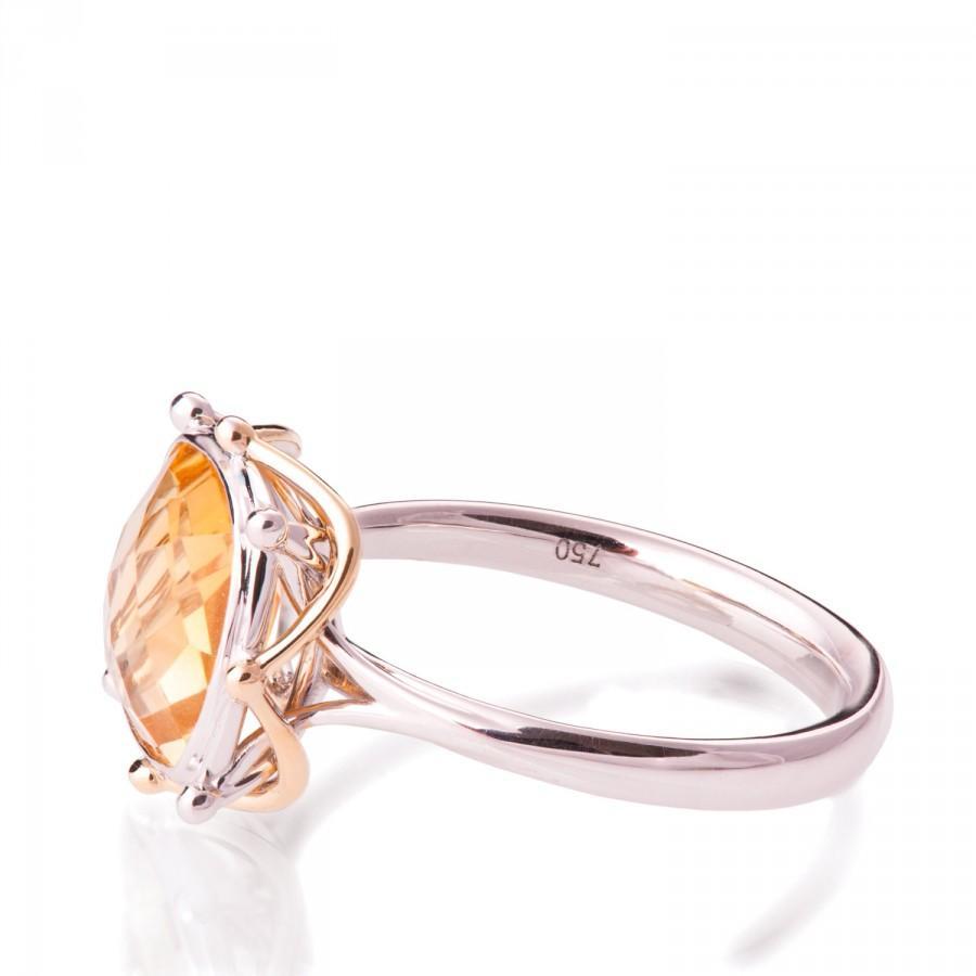 Mariage - Art Deco Engagement Ring, Unique engagement ring,Statement ring, Two tone Ring, Citrine Ring, Checker cut stone ring, Large stone ring, R016