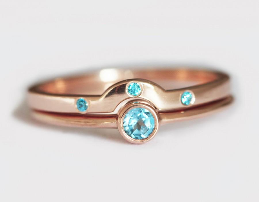 gold topaz ring rose gold wedding ring set simple wedding set 14k rose gold ring set - Simple Wedding Ring Sets
