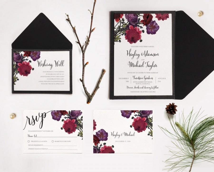 Botanic Rose Floral Wedding Invitations Printable Rose Floral