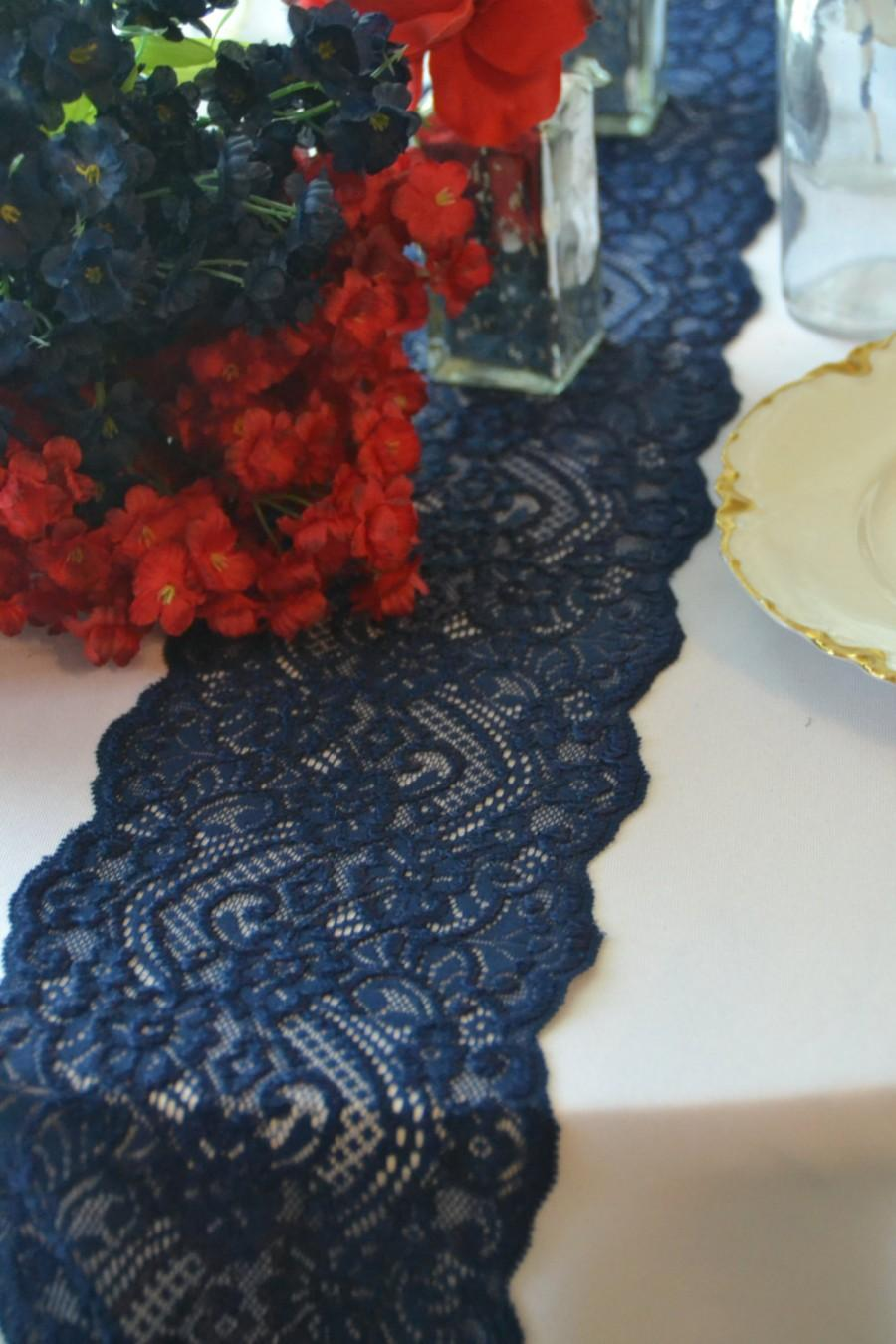 Navy lace table runner 3ft 10ft wide cut lace not for 10 foot table runner