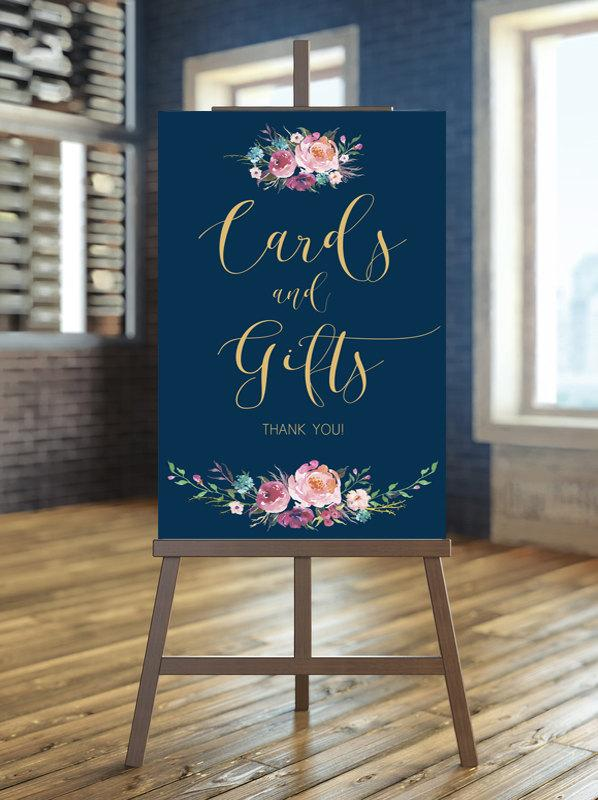 Mariage - Printable wedding sign, Wedding cards and gifts sign, Floral wedding sign, Gold cards and gifts sign, Custom sign, Navy cards and gifts sign