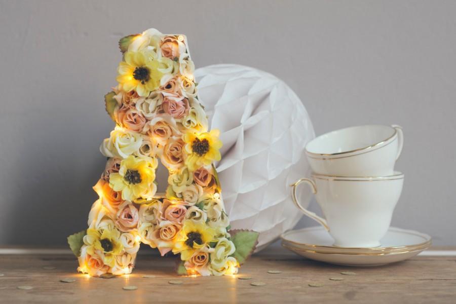 Свадьба - Flower letter, Light up custom flower monogram letters & numbers, light up letters, letter lights, flower letters
