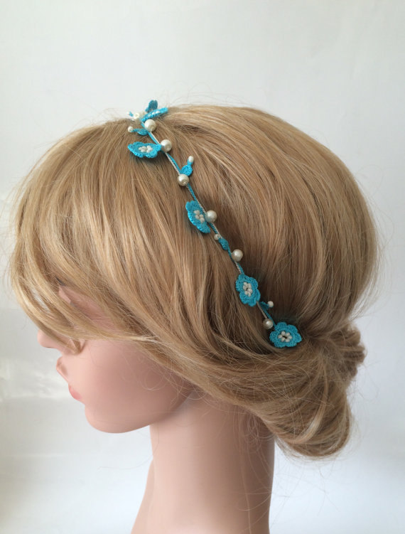 Wedding - Bridal Headband, Turquoise Beaded Hairband, Blue Crochet Wedding Headpiece, Pearls Flowers Hair Jewelry, Bridesmaid Headpiece, Women's Gift