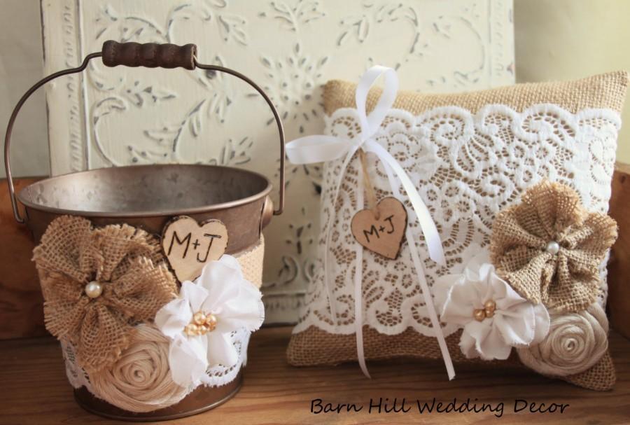 Mariage - Flower Girl Bucket Ring Basket Bearer Pillow Set Wedding Rustic Wedding Burlap Shabby Chic Basket and Pillow Set