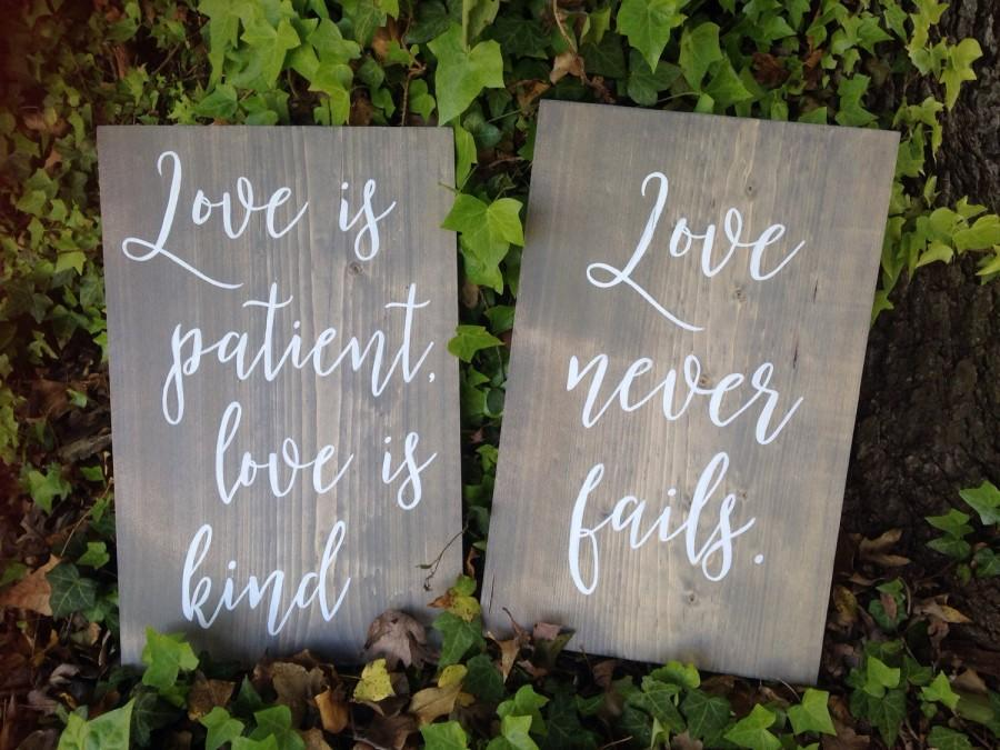 Свадьба - Love is patient, Love is kind, 1 Corinthians 13, Wedding aisle signs, set of 8, Hand painted wood signs