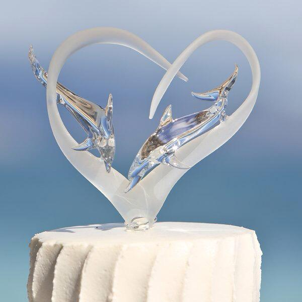 Mariage - Frosted Glass Heart Cake Topper with Two Dolphins