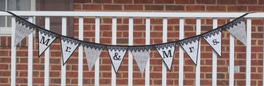 Mariage - Fabric Banner - Fabric Bunting - Mr. & Mrs. Wedding - Stripes