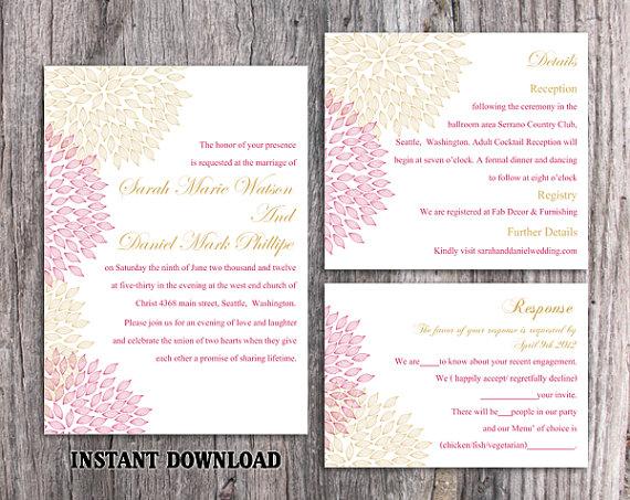 Wedding - DIY Wedding Invitation Template Set Editable Word File Instant Download Printable Floral Invitation Pink Wedding Invitation Gold Invitations