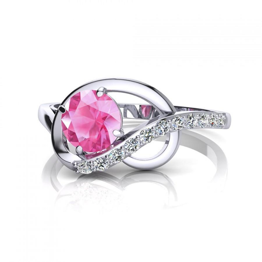 Mariage - Pink Sapphire Ring 14K White Gold Pink Engagement Ring Sapphire Engagement Diamond Ring Diamond Engagement Wedding Ring September Birthstone