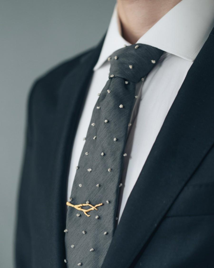 Hochzeit - Branch Tie Bar- 3D Printed Stainless Steel Men's Tie Clip