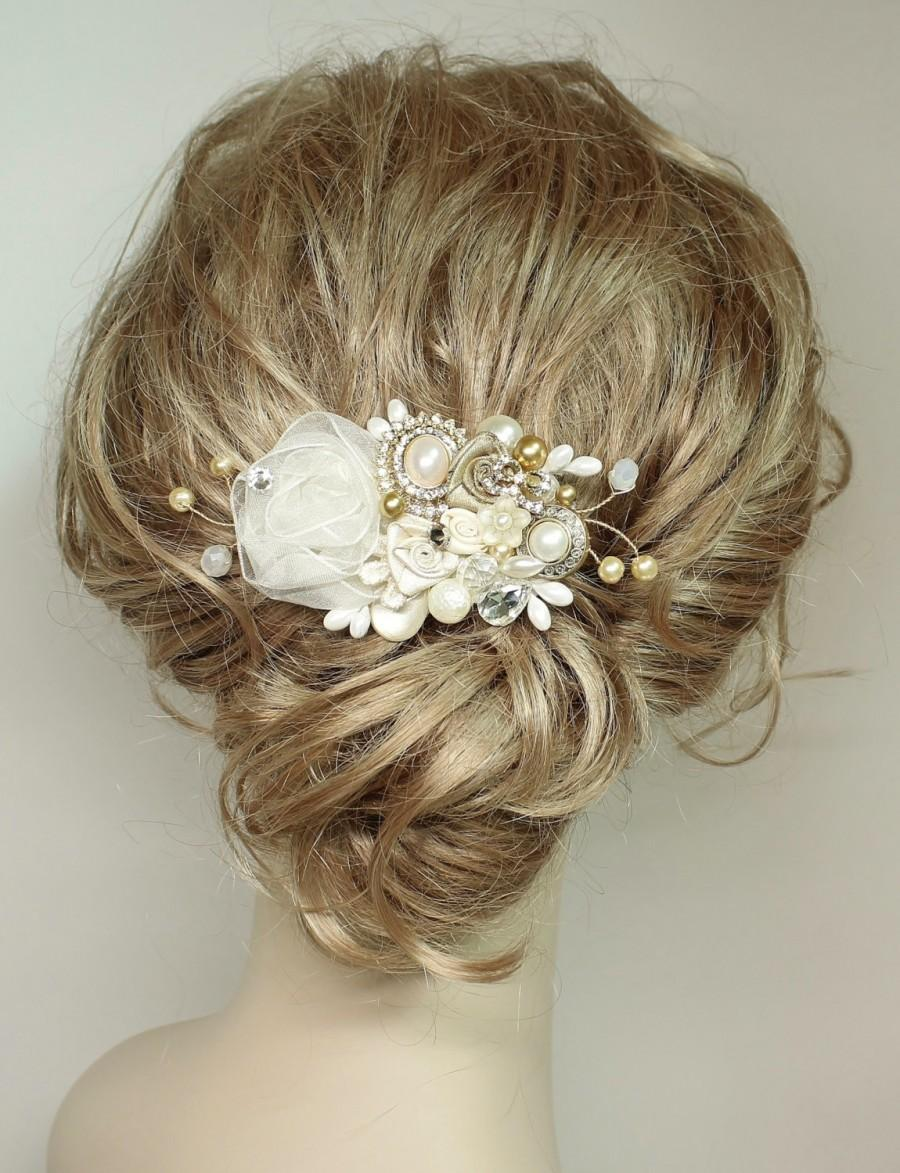 Mariage - Gold & Ivory Bridal Haircomb-Wedding Hair Piece- Gold Bridal Hair Accessories-Statement Bridal hairpiece-Gold Bridal clip- Floral Haircomb