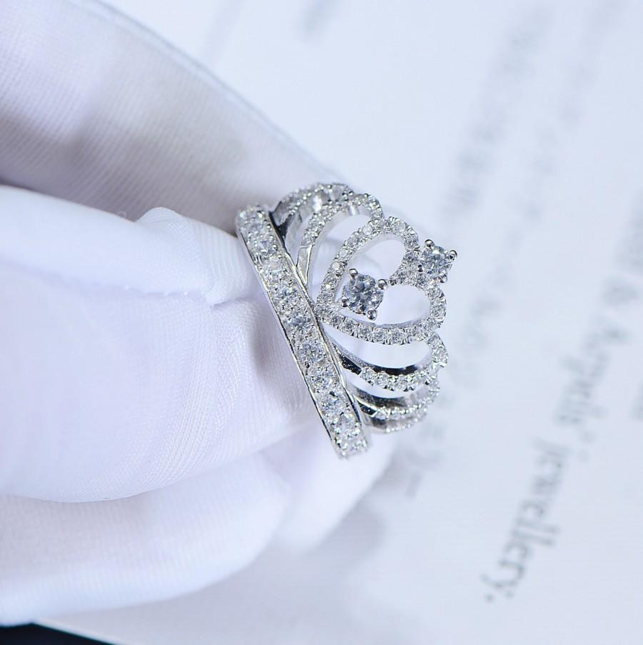 Princess Crown Promise Ring, Accent Tiara Rings For Her, Man Made ...