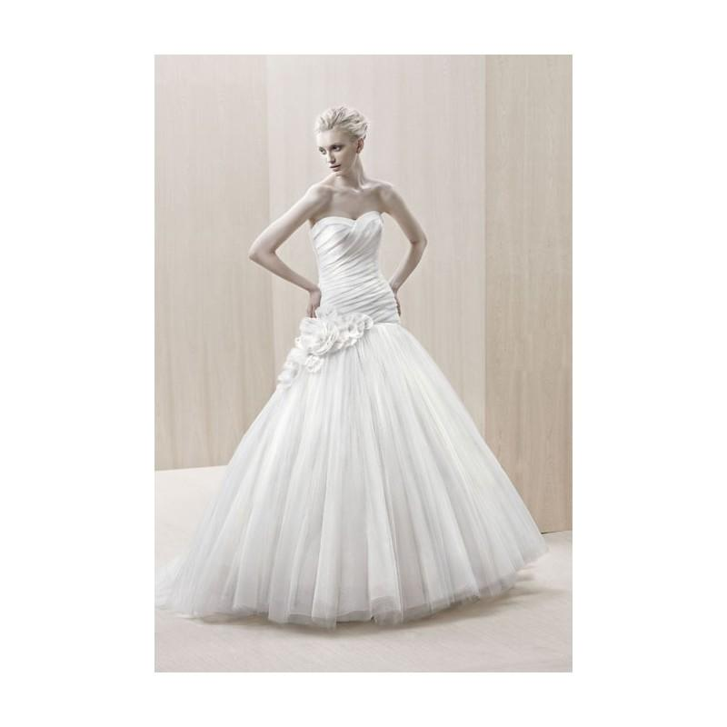 Wedding - Blue By Enzoani - Fall 2012 - Elkhart Strapless Silk Organza and Tulle A-Line Wedding Dress with Floral Detail - Stunning Cheap Wedding Dresses