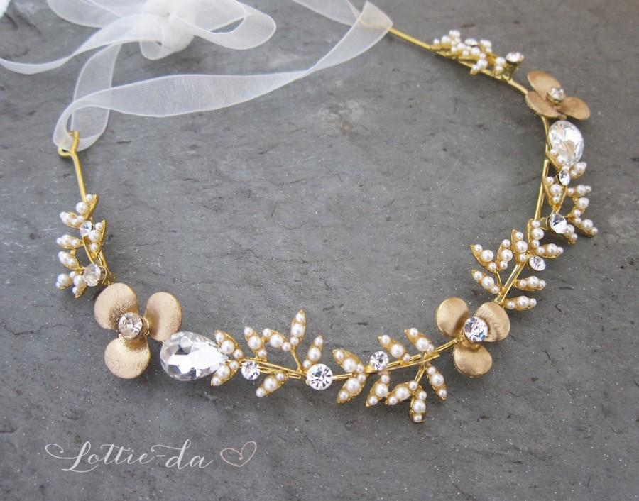 Hochzeit - Boho Gold Hair Halo Hair Vine, Flower Hair Crown, Grecian Gold Hair Wreath, Boho Gold Flower headband, Wedding Hair Vine - 'EMBER'