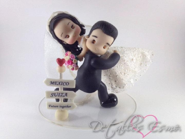 Mariage - Signs Destinations Cake Topper for Wedding, Handmade wedding topper, cake Topper Wedding, novios pastel, figuras novios