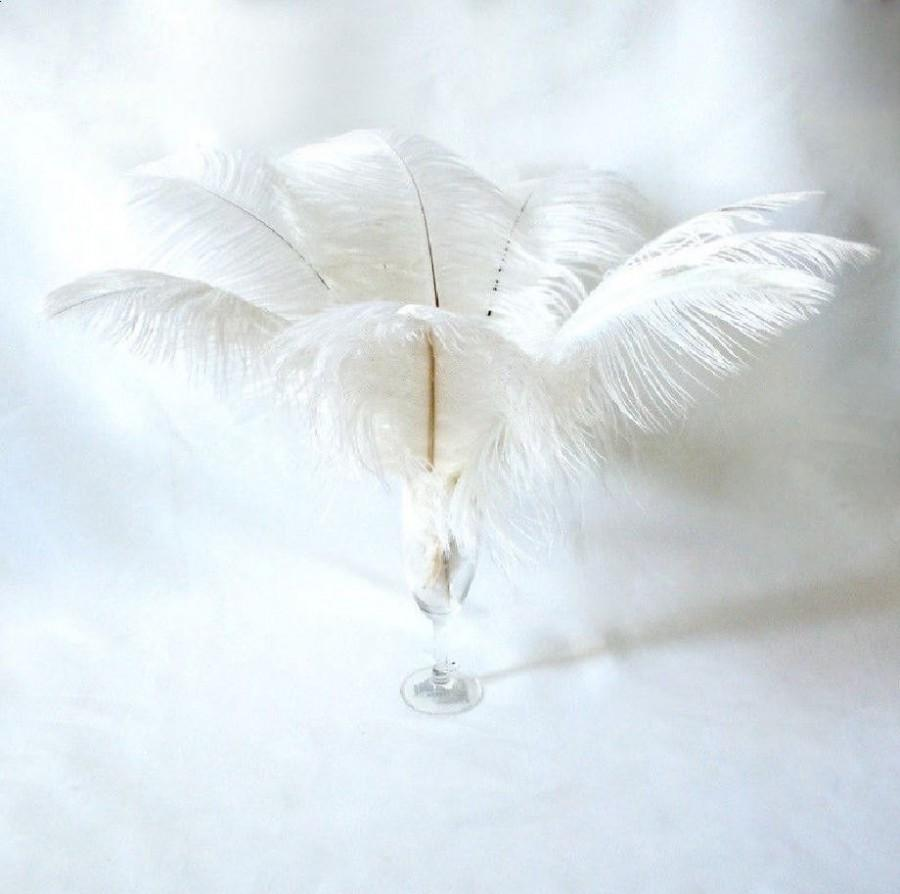 """Mariage - 10 Pcs 8-10"""" 10-12"""" 12-14"""" 14-16"""" 16-18"""" 20-22"""" White Ostrich Feather Plume for Centrepieces and Craft!"""