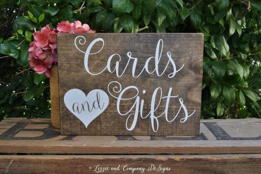 cards gifts sign guestbook sign calligraphy lettering sweetheart table sign rustic wedding sign stained wedding sign 10 x 7