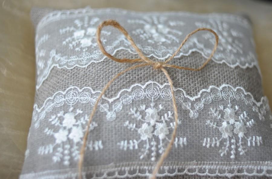 Wedding - Rustic Wedding Lace Ring Pillow Wedding Pillow Wedding Accessories Wedding Decor Bearer Ring Pillow Garden Wedding Bridal Pillow rustic ring