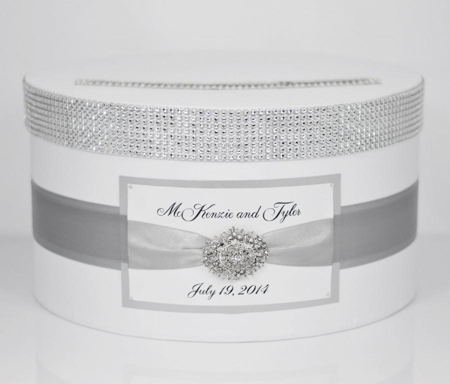 Свадьба - Wedding Card box / Card holder / Wedding money box - silver - personalized