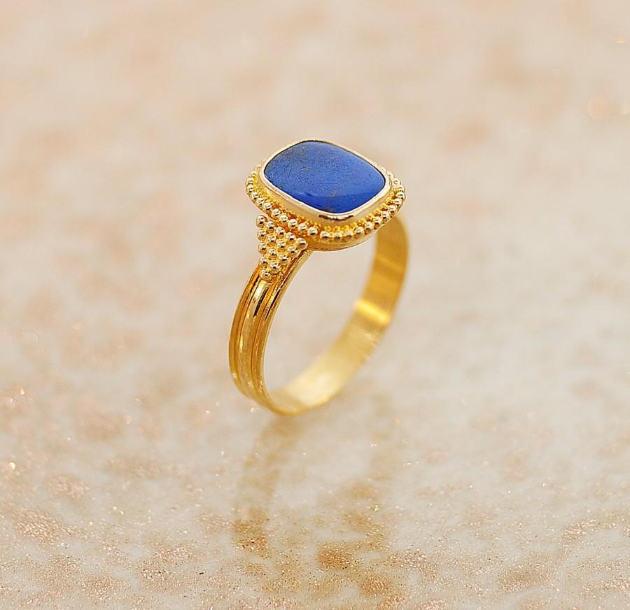 Свадьба - Vintage Ring - Vintage Lapis Ring - 22K Yellow Gold