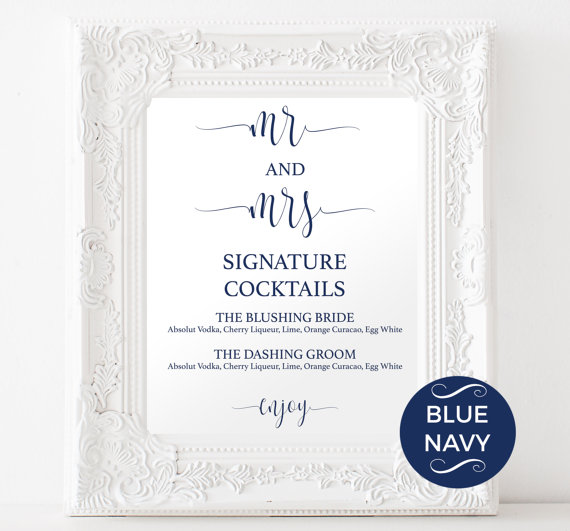 Signature Drinks Printable - Navy Signature Drink - Wedding ...