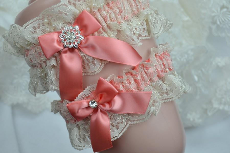Wedding - Coral Garter Set, Wedding Garter,Bridal Garter, Lace Garter Set,Garter, Heirloom Garter