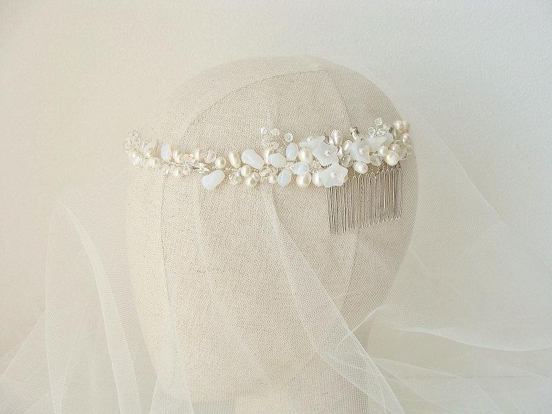 Wedding - Pearl Bridal Crown, Wedding Headband, Bridal Pearl Hair Vine, Bridal Headband, Pearl Halo, Pearl Crown Headband, Boho Halo Crystal Hair Vine