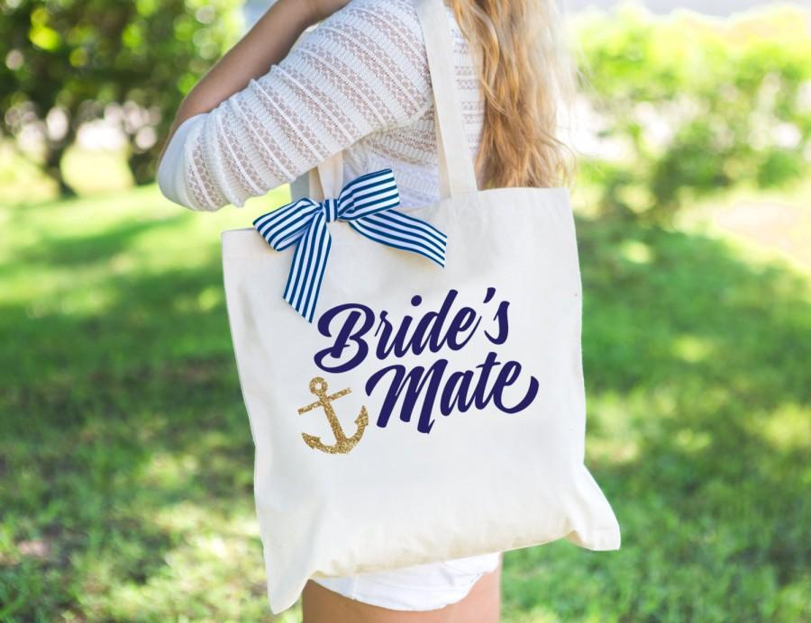 Hochzeit - Nautical Anchor Wedding Bags for Bridesmaids Bridal Party, Glitter Tote Bags for Wedding or Bridal Shower Wedding Gifts (Item - BNB200)
