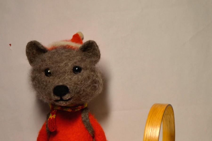 زفاف - Bear, Art Dolls, Interior doll, felted animal, felted Teddy bear, READY TO SHIP felt doll