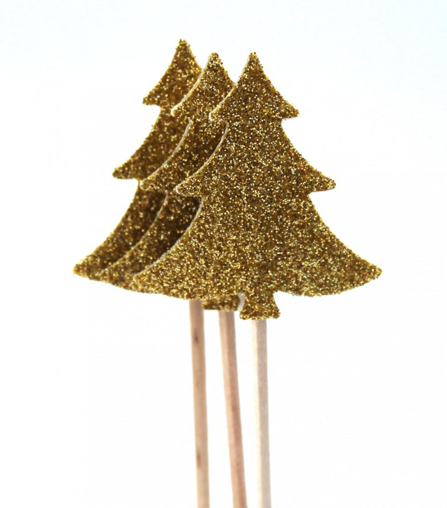 10 golden christmas tree toothpicks party picks cupcake topper christmas pick glitter christmas sign - Glitter Christmas Tree