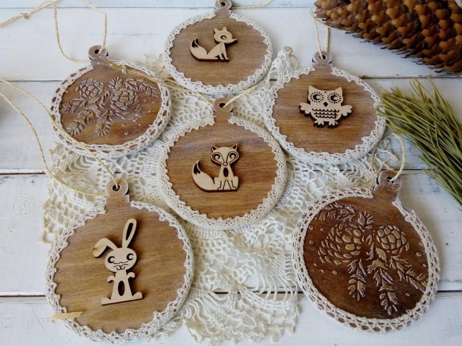 Set of wooden christmas balls christmas ornament christmas tree