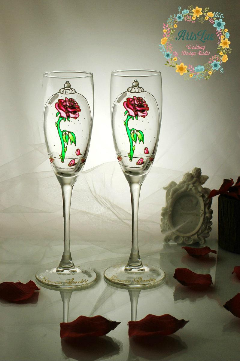 Beauty And The Beast Enchanted Rose Personalized Wedding Champagne