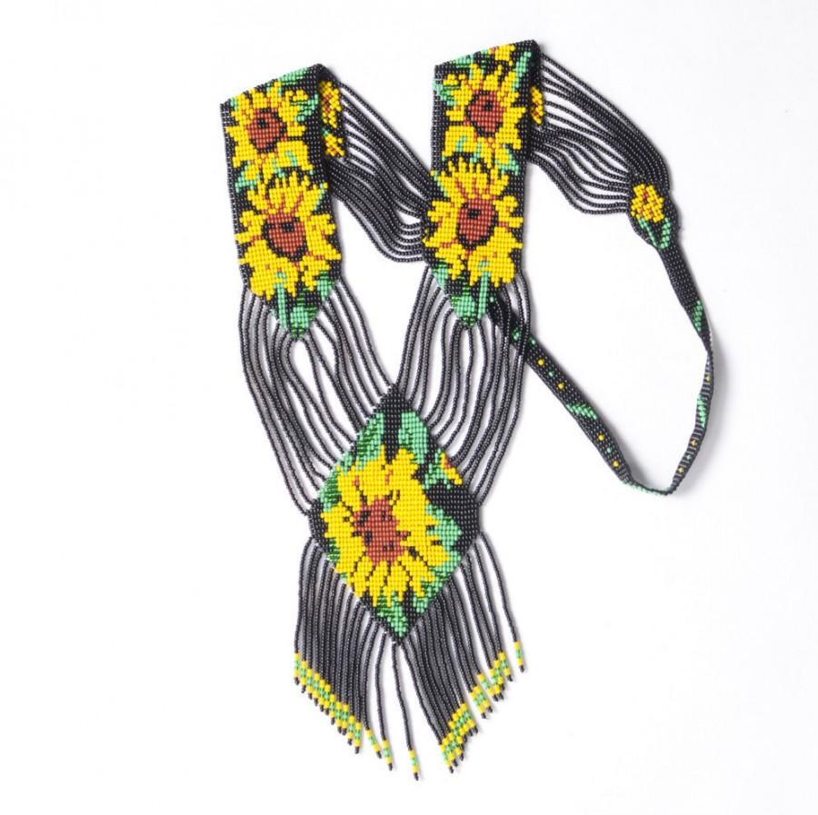 Boda - Ready for shipping! Traditional Ukrainian Gerdan, Jewelry Beads,Beaded Necklace with sunflowers, Black Gerdan with  sunflower