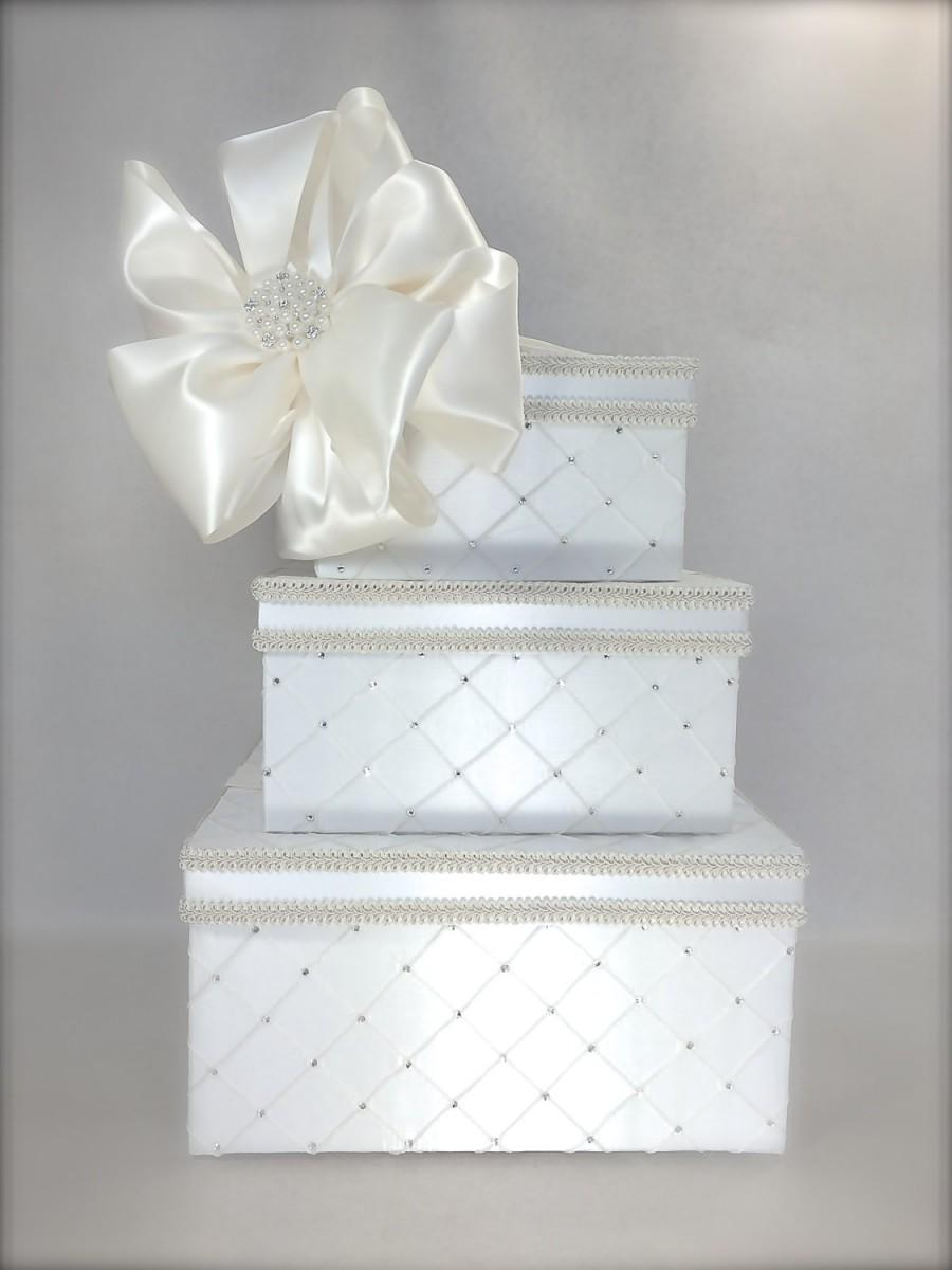Dramatic Quilted Diamonds Wedding Card Box Wedding Card Holder ...