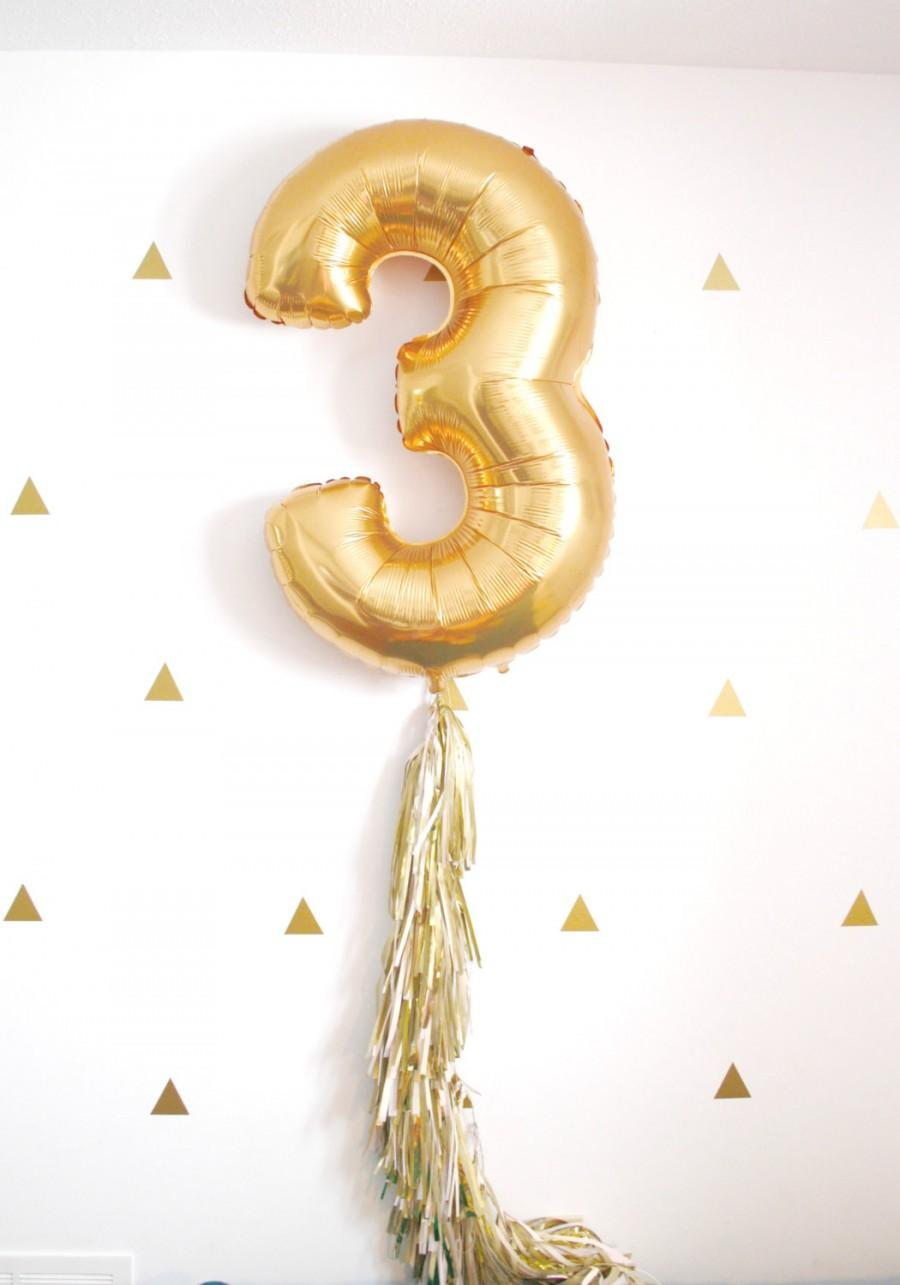 Gold Foil Number Balloon With Tassel Tail 1st Birthday Party Baloon Decorations Photo Booth Prop Blush Wedding