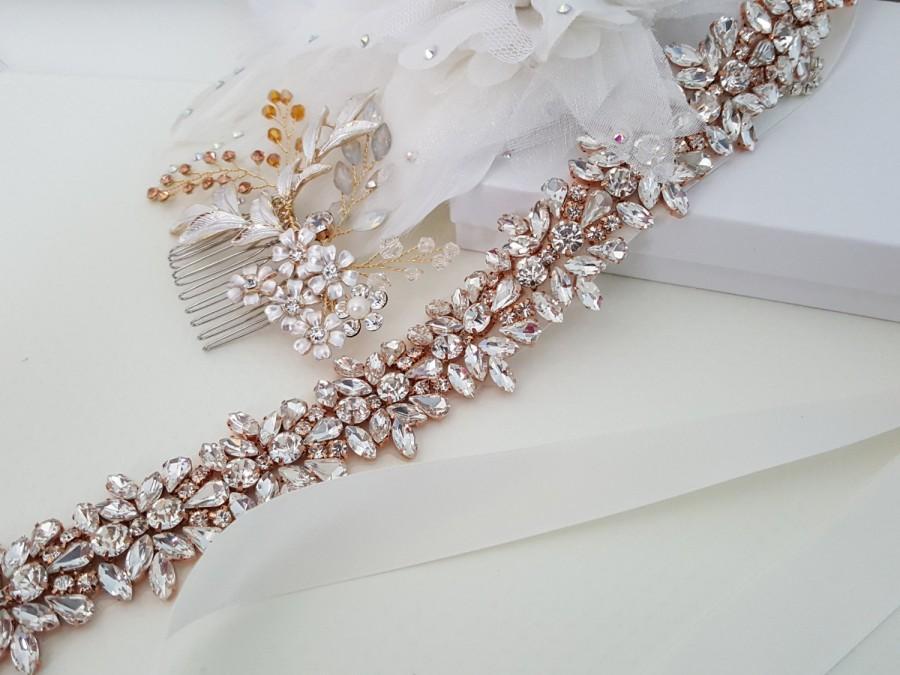 Mariage - Rose Gold Wedding Accessories, Rose Gold Bridal Accessories, Rose Gold Bridal Belt, Rose Gold Bridal Hair Comb, Hair Pin