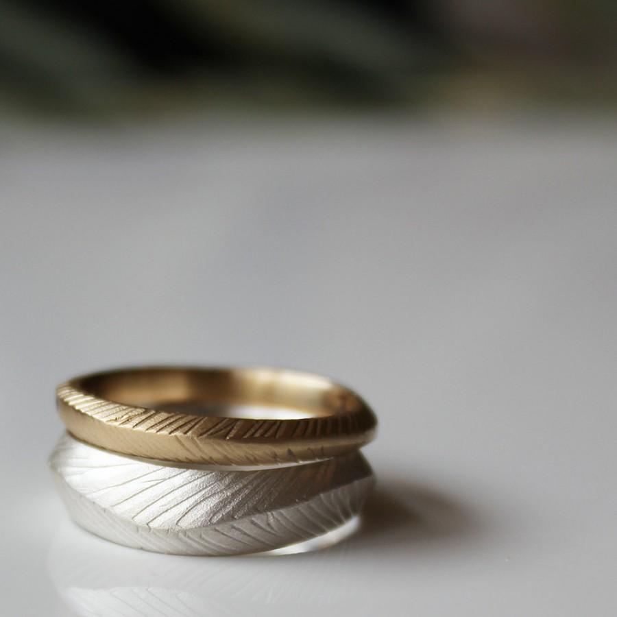 Mariage - Gold wedding ring Rustic wedding ring Wedding Bands Stacking Ring set Gold Stack