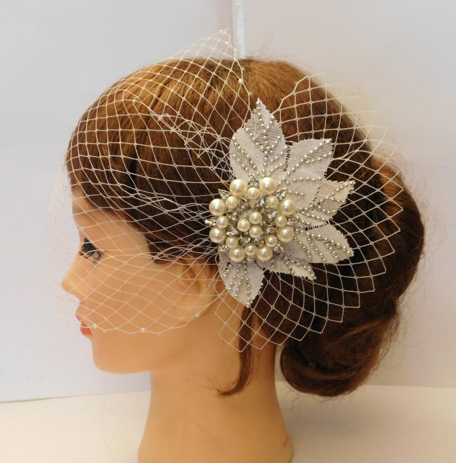Wedding - Birdcage veil with Sparkly JEWEL Clip.Bandeaue style veil, Blusher veil, French/Russian Net Veil.Wedding,Bridal birdcage veil fascinator 2PC
